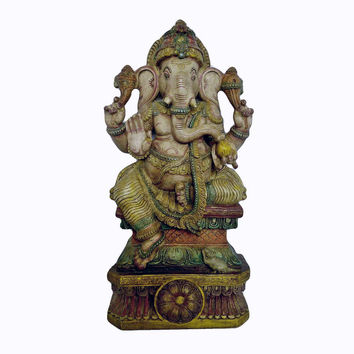 Hindu God Ganesha Big Statue - 3 Ft tall Handmade Antique looking