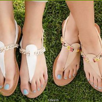 Women's Flat  Sandals Thong Strap Chain Embellished Ankle Slingback Sandal New