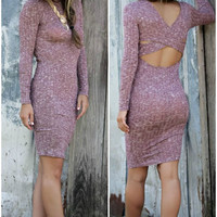 The Last Word Wine Long Sleeve Bodycon Sweater Dress With Back Cut Outs
