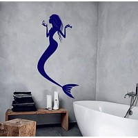 Wall Vinyl Decal Mermaid Marine Ocean Sea Bathroom Decor Unique Gift z3935