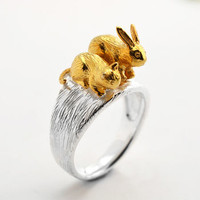 Silver Pussycat And Bunny Ring