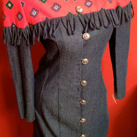 Vintage Denim and Red Tribal Print Dress with Fringe Silver Button Up Size 3/4 Small Long Sleeve