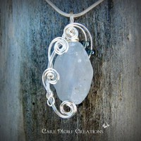 Wire Wrapped Pendant-  Crystal Blue Celestite Necklace