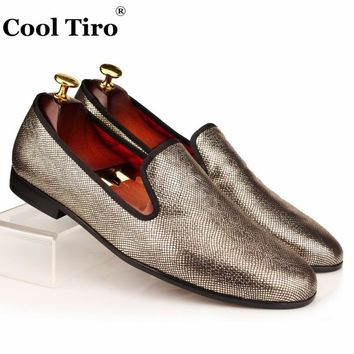 COOL TIRO Gold Gingham Loafers Men Smoking Slippers Slip-on shoes