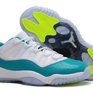 DCCKL8A Jacklish Womens Air Jordan 11 Girls White/turbo Green-volt Ice-black For Sale
