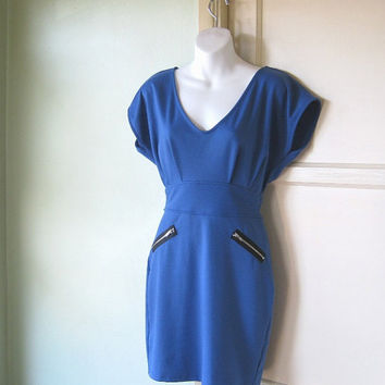 Cadet Blue Futurist Bombshell Dress w/ Hardware/Zippers; Med-Lg - Astro Girl/Jetsons/Avant Garde/Diva Mini - Periwinkle Knit Deep V Dress