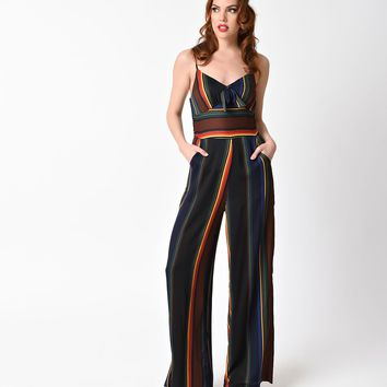 Voodoo Vixen 1970s Style Black & Rainbow Striped Vivian Jumpsuit
