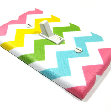 Pastel Rainbow Chevron Decor Light Switch Cover Girls Nursery Decoration Pink Yellow Green Blue 1288o