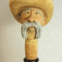 Hand Carved Wood Old Cowboy Bottle Stopper