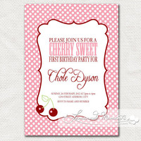 Sweet Cherry Invitation  Printable Birthday by lemonademoments