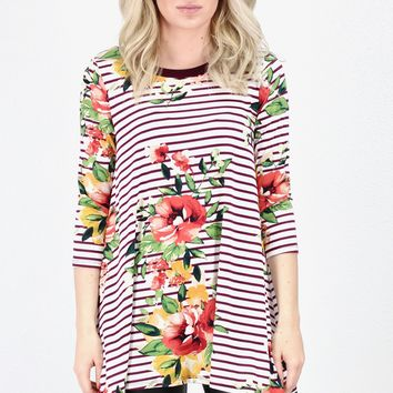 3/4 Sleeve Stripes + Florals Trapeze Tunic {Burgundy Mix}