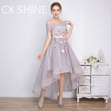Gray High-Low evening dresses flower long prom party dress Kleider robe de soiree runway dresses Bride Banquet Robe De Soiree