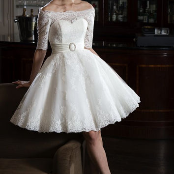 tb-gia Short tea length bridal gown with lace trimmed neckline