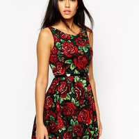 AX Paris Belted Skater Dress in Rose Print