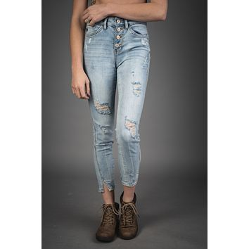 Kendall Light Wash Button Up Kan Can Jeans