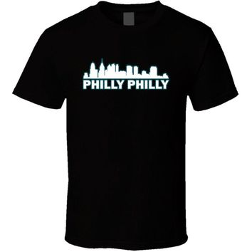 Philly Philly Philadelphia Fly Eagles Fly Cityscape Cool T Shirt Men T Shirt Print Cotton Short Sleeve T-shirt