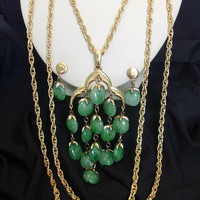 Crown Trifari MOD Large Jade Green Geometric Waterfall Pendant Necklace Lucite Gold Plate Chain Earrings Set