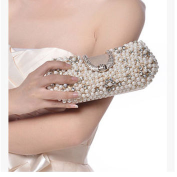 Bride clutch,Pearl clutch, Rhinestoneswedding clutch, Summer Wedding,  Pearl evening bag, Prom clutch