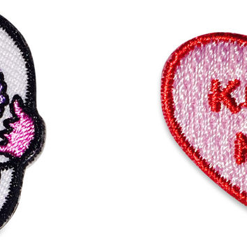 Sugar Skull peel and stick patch + Candy Heart peel and stick patch