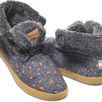 TOMS Shoes Blue Leopard Denim Highland Botas Women's Ankle Boots,