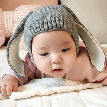 Autumn Winter Toddler Infant Knitted Baby Hat Adorable Rabbit Long Ear Hat Baby Bunny Beanie Cap Photo Props SW148