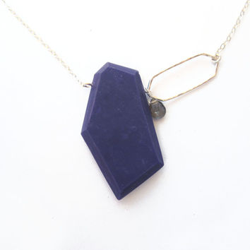 Navy blue modern pendant, genuine labradorite gemstone, sterling silver necklace, colorful modern jewelry, contemporary, purple, plum, blue