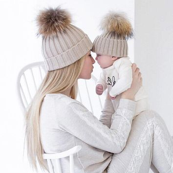 2PCS Mother Kids Hat Winter Women Baby Boys Girls Warm Crochet Beanies Fox Fur Pompom Skullies Knitted Gorros Bonne Bonnet Touca