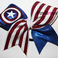 Beautiful Captain America SuperHero Cheerleading bow by FunBows !!