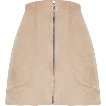 Stone Faux Suede Ring Zip Front Mini Skirt