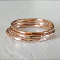 Single 14kt Rose GOLD-FILL Single Stackable Ring // Hammered Stackable Ring in Pink Gold // made to order