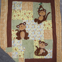 Comforter /Quilt Hanging Around Monkeys by DesignsByDiBlankets