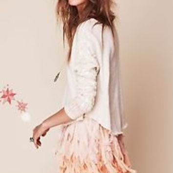 Free People Sequin Sleeve Pullover Sweater