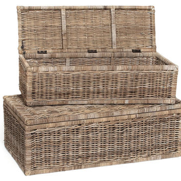 Rattan Chests, Set of 2, Storage Baskets