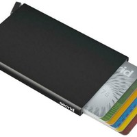 Secrid Card Protector in black, Very Slim Credit Card Holder / wallet with RFID protection, with one click all 6 cards slide out gradually