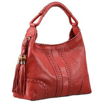 Gucci Medium Woven Tassels Red Leather Hobo 607328