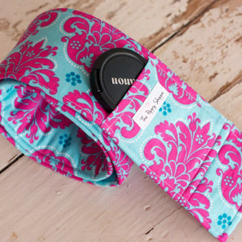 DSLR Camera Strap Cover- lens cap pocket and padding included- Pink and Blue