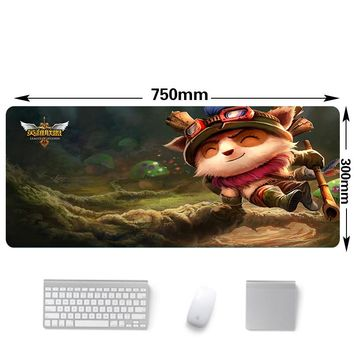 750x300mm lol Timo pattern gaming mouse pad Locking Edge Large Mouse Keyboards mats laptop desk mouse pads for league of legends
