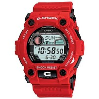Mens Casio G-Shock - World Time - Tide & Moon Data - Red Resin Band