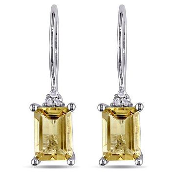 Yellow Sapphire Emerald Cut Tiffany Inspired Earrings in 18K White Gold