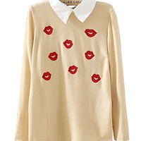 Beige Lips Embroidered Long Sleeve Shirt With Collar