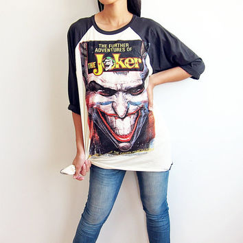 The Joker Shirt Classic Movie T Shirts Comics Baseball Tee Raglan T Shirt 3/4 Long Sleeve Men Women T-Shirts Size L