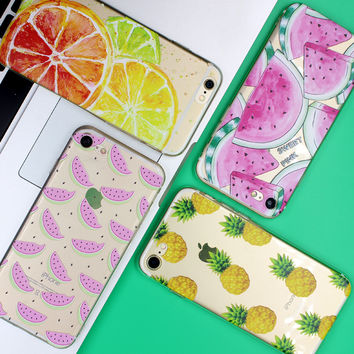 Fruit Pineapple TPU Soft Silicon Transparent Thin Case Cover Coque For Apple iPhone 7 7 Plus 4 4S 5 5S SE 5C 6 6S 6S Plus Case