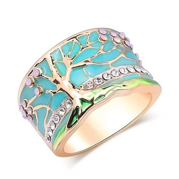 Vintage Gold & Crystal Tree Of Life Protection Ring