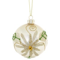 "S/4 3"" Glass Flower Ornaments, White"