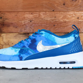 Nike Air Max Thea Print Running Shoes By Glitter Kicks - Customized With Swarovski Crystal Rhinestones - Blue/White