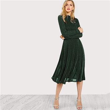Green Elegant Party Mock Neck Glitter Button Fit And Flare Solid Natural Minimalist Women Dresses