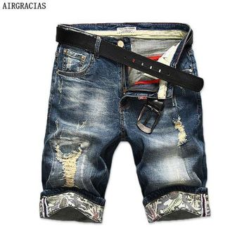 ICIKON3 AIRGRACIAS New Fashion Mens Ripped Short Jeans Brand Clothing Bermuda Summer 98% Cotton Shorts Breathable Denim Shorts Male