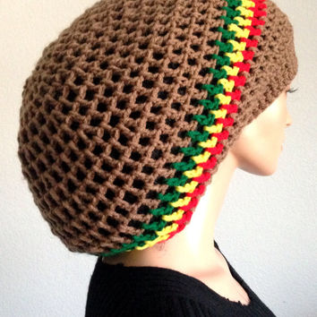 Summer Crochet Dreadlocks Rasta Tam/ Men's Handmade Dreadlocks Tam/ Women's latte rasta Tam