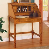 A.M.B. Furniture & Design :: Office Furniture :: Desks :: Oak finish wood small secretary roll top desk with single drawer
