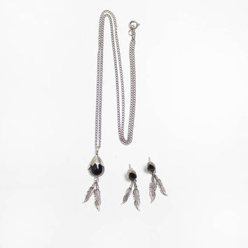 Vintage Jewelry Set - Sterling Silver + Onyx Necklace + Earrings Feather Southwest Native